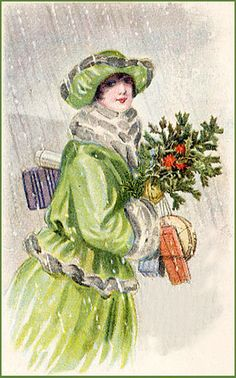 Deco Lady In Green--Vintage Holiday Postcard