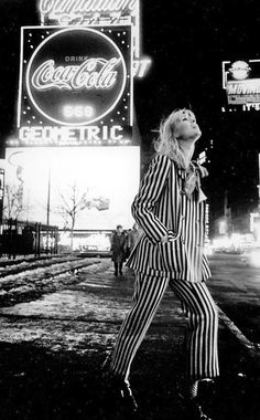 Nico photographed by Steve Schapiro in Times Square, New York City.