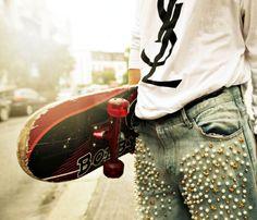 YSL tee, Nixon pearl embellished boyfriend jeans