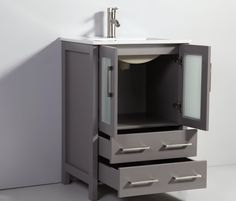"""PRODUCT DESCRIPTION: This modern 24 in. single sink bathroom vanity set with ceramic vanity top is a perfect combination of elegance and value. The soft-closing doors and drawers add another touch of class. The vanity set includes the vanity, sink, top, mirror and cabinet hardware. 24-Inch Single-Sink Bathroom Vanity Set With Ceramic Vanity Top. 24""""W x 18""""D x 36""""H 24"""" Wide Vanity Top - White Ceramic Soft Closing Doors & Drawers. Includes Sink, Mirror and Drain. Faucet not Included. Full manu 24 Inch Bathroom Vanity, 24 Vanity, Vanity Set With Mirror, Single Sink Bathroom Vanity, Vanity Cabinet, Vanity Sink, Bath Vanities, Cabinet Hardware, Small Bathroom"""