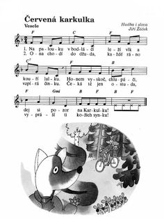 červená Karkulka Short Fairy Tales, Music Do, Kids Songs, Music Notes, Sheet Music, Kindergarten, Preschool, Teaching, Greek Chorus