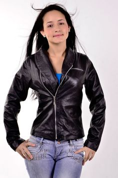 Women Vintage Leather Black Light Jacket Sz XS-3XL or Custom Made 12 Colors #ColombianCouture #Vintage