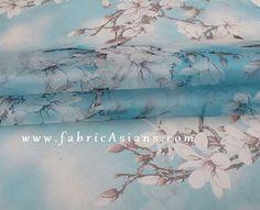 Blue Floral Organza by fabricAsians Organza Dress, Silk Organza, Silk Chiffon, Asian Fabric, Apple Blossoms, Amusement Parks, Mulberry Silk, Diy Dress, Sheer Fabrics