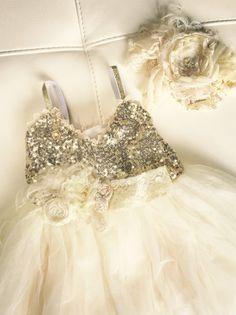 The Rosemary Dress Gold sequin girls fancy by DelicateAndSpecial