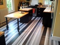 Gorgeous Grays: A Painted Striped Floor in the Kitchen