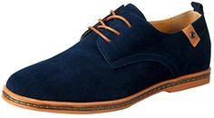 iLoveSIA Zapatillas Oxford de Cuero de Gamuza Clásico de Hombre Azul Nuevo 43 EU MYZAkZr