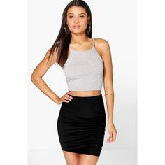 Boohoo Esme Rouched Side Mini Skirt (91 DKK) ❤ liked on Polyvore featuring skirts, mini skirts, black, bodycon mini skirt, rayon skirt, short skirts, bodycon midi skirt and body con mini skirt
