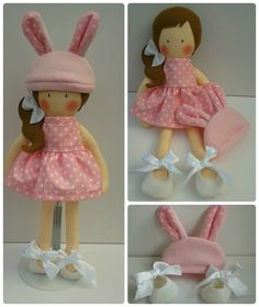 17 inch Modern Ragdoll, with removable party dress, shoes and cute bunny beanie hat made using a mixture of 100% cotton and 100% wool felt. www.facebook.com/honeybeeforkids