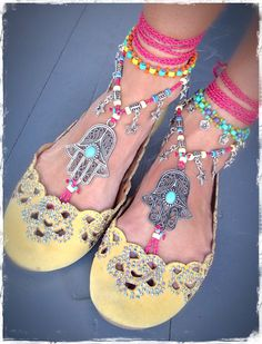 HAMSA hand BAREFOOT sandals tribal belly Dance foot jewelry Hot PINK Ankle wrap sandal Ethnic Wedding Hippie Boho Toe Thong bare feet GPyoga Ankle Wrap Sandals, Bare Foot Sandals, Dancing Barefoot, Ethnic Wedding, Tribal Belly Dance, Hamsa Hand, Palm Beach Sandals, Ankle Bracelets, Gypsy Soul