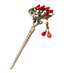 Qiyun women's flower colorful rhinestone crystal leaves antique brass metal red agate bead women's hair accessory decorative hair pin stick for long hair Qiyun,http://www.amazon.com/dp/B00DQHXB3M/ref=cm_sw_r_pi_dp_m2mwtb14MEQ6RS0Y