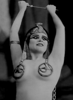 Cleopatra (1917) American silent, starring Theda Bara. The majority of the film is now considered lost. Source:http://retrogasm.tumblr.com/post/36359180230/theda-bara Article: the most wicked face of theda bara. Hilarious must read on her career. http://thehairpin.com/2013/01/scandals-of-classic-hollywood-the-most-wicked-face-of-theda-bara