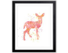 Fawn Watercolor, Nursery Art, Baby Girls, Child's Wall art, Art for Children, Deer Artwork, Watercolor Deer, Pink, Orange, Yellow, PRINT