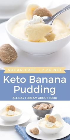 This creamy keto banana pudding is a taste sensation! This easy low carb dessert gives the Southern classic a run for its money. Ketogenic Desserts, Keto Friendly Desserts, Keto Snacks, Keto Sweet Snacks, Ketogenic Diet, Sweet Treats, Low Carb Sweets, Low Carb Desserts, Low Carb Recipes