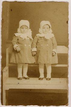 Vintage german photo pc 2 cute girls /twins wearing same coat,cap holiding hands | eBay