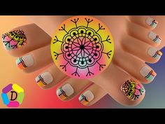 Mandala on Gradient Toe Nail Art, Toe Nails, Tiny Baby Animals, Bright Nails, Beautiful Toes, Toe Nail Designs, Pedicure, Projects To Try, Beauty