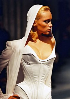 """RTW S/S 98. Thierry Mugler's ARCHITECTURAL UNIVERSE (A creation like an impulsion). """"I am an architect who completely reinvents a woman's body.""""- Thierry Mugler."""
