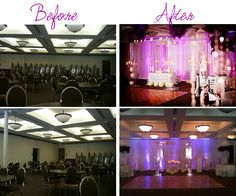 Venue transformation before and after, proof that any event location can be gorgeous with the right wedding planner! http://www.miamiweddingsandevents.com