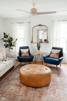 Boho Living Room, Home And Living, Small Living, Tan Living Rooms, Blue Living Room Chairs, Living Room With Mirror, Living Room With Windows, Armchair Living Room, Navy And White Living Room