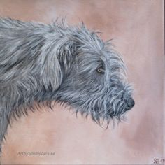 Acrylbild von einem Irischen Wolfshund / Galerie ArtbySandraZereike von ArtbySandraZereike auf Etsy