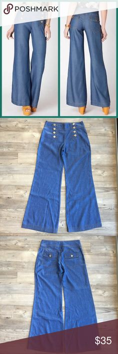 """Anthropologie Elevenses Chambray Sailor Jeans Excellent Condition Anthropologie Elevenses High Waist Chambray Sailor Jeans Size 2 Inseam 30.5"""" (Original Hem) Rise 9"""" Waist Flat 14.5"""" No stains or holes Ankles are in perfect condition Wide Legs Non-smoking home Anthropologie Jeans Flare & Wide Leg"""