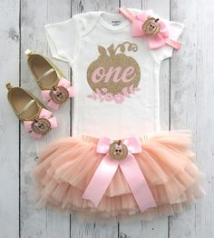 girl 1st birthday outfit Pumpkin First Birthday Outfit in hot pink and orange fall 1st birthday outfit our little pumpkin is turning one