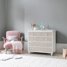 You get a lot of bang for your buck with this chest of drawers. From the grooved drawer fronts, to the aged paint finish and the handpainted inky blue interior! Pleated Curtains, Curtains With Blinds, Curtain Accessories, Comfy Sofa, Pencil Pleat, Guest Bed, Drawer Fronts, Paint Finishes, Dresser As Nightstand