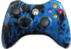 Custom Xbox 360 Controller with Blue Fire Shell - Brand New Xbox 360 Controller