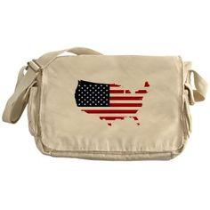Flag Map of the USA Messenger Bag