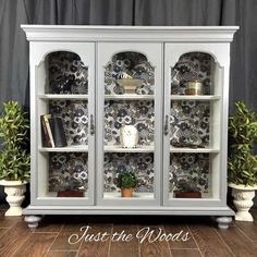 modern furniture Repurpose the top of a china cabinet by adding feet and turn it into a modern chic curio cabinet. With a fabric decoupage back this painted furniture makeover is a DIY project for everyone Refurbished Furniture, Repurposed Furniture, Rustic Furniture, Furniture Makeover, Vintage Furniture, Painted Furniture, Home Furniture, Modern Furniture, Furniture Storage