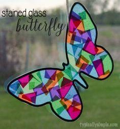 DIY Stained glass butterfly - spring window decor // Papír pillangó ablakdísz - lepke dísz színes papírból egyszerűen // Mindy - craft tutorial collection // #crafts #DIY #craftTutorial #tutorial