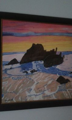 Sunset over the sea. Oil paint on canvas. Artist is Charl Blignaut. 2013