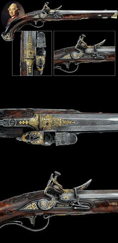 "A rare flintlock pistol, part of the garniture of firearms made for ""general Mikhail Krechetnikov"", Russia, last quarter of the 18th century."
