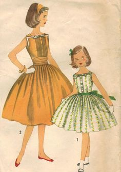 1950s Simplicity 2056 Vintage Sewing Pattern Girl's Dress and Cummerbund Size 14