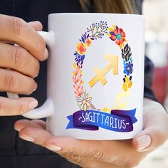 Sagitarius Sign Zodiac Astrology Mug | Glossy Ceramic | 11 - 15 oz | Coffee Tea Cup
