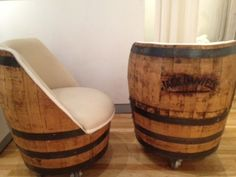 Whiskey Barrel Table Tops | www.nottooshabbynj.com salvage chic funky finds barrel chairs