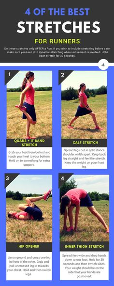 Best Stretches for Runners for Before & After Running) Here are 4 of the best stretches for runners that you want to include in your routine if you wish to stay flexible and reduce injury as a runner.The Runner The Runner may refer to: Hip Stretches For Runners, Stretches For Workouts, Stretches Before Running, Good Stretches, It Band Stretches, Calf Stretches, Running Workouts, Dynamic Stretching For Runners, Flexibility Exercises