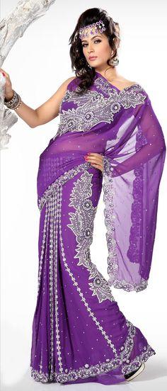 #Purple #Lehenga Style #Saree