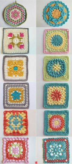 Granny squares patterns  ༺✿ƬⱤღ  https://www.pinterest.com/teretegui/✿༻