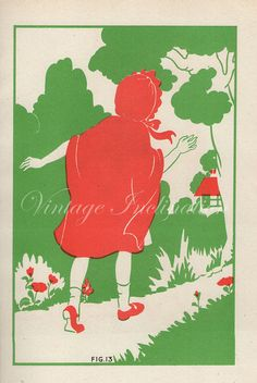 1920s Nursery RED RIDING HOOD Book Plate by VintageInclination, $14.50