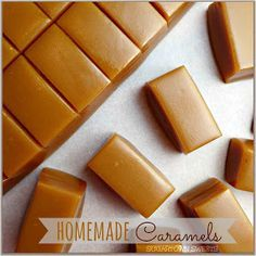 Sugartown Sweets: Homemade Caramels I'm making these tomorrow! Caramel Recipes, Candy Recipes, Sweet Recipes, Baking Recipes, Basic Caramel Recipe, Homemade Candies, Homemade Caramels, Salted Caramels, Vegan Sweets