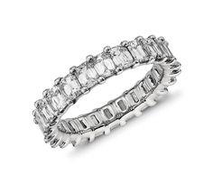 Brilliant Emerald Cut Diamond Eternity Ring in Platinum ct. Blue Nile Jewelry, Diamond Jewelry, Diamond Girl, Eternity Ring Diamond, Emerald Cut Diamonds, Diamond Are A Girls Best Friend, Wedding Bands, Wedding Ring, Bracelets
