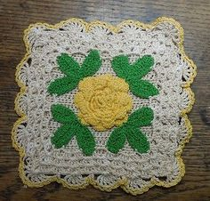 Gay & Gifty Pot Holder Gorgeous Vintage Hand Crocheted Yellow Rosette with Ecru