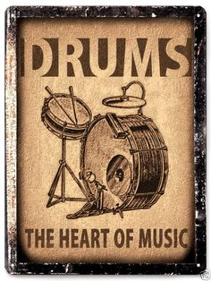 Drums set sign / Music Studio retro vintage wall decor by hodeac. For my music area Vintage Drums, Vintage Metal Signs, Vintage Walls, Vintage Stil, Retro Vintage, Drums Quotes, Drum Room, Drums Art, Drum Music
