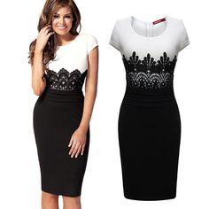 2e651eb2b493 2014 New Fashion Womens Empire Vintage Crochet Lace Square neck Bodycon  Fitted Shift Party Pencil Dress