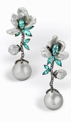 white gold earrings with paraiba tourmalines, south sea pearls, south sea keshi pearls, and diamonds, Arunashi Bohemian Jewelry, Modern Jewelry, Luxury Jewelry, Pearl Jewelry, Vintage Jewelry, Fine Jewelry, Pearl Earrings, Silver Jewelry, Handmade Jewelry