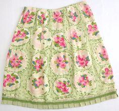 J. Jill 100% Linen Skirt Garden Romantic Floral Ruffle Green Pink M #JJill #ALine