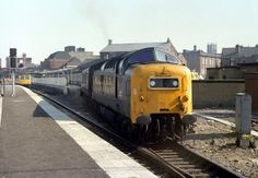 "55008 ""The Green Howards"" captured leaving Doncaster's platform 1 with a King's Cross service in May 1980."
