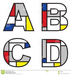 Afbeeldingen, stockfoto's en vectoren van Mondrian+alphabet Piet Mondrian, Alphabet Images, Alphabet Art, Kids Art Class, Art For Kids, Art Worksheets, Ecole Art, Art Plastique, Elementary Art