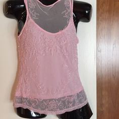 SALERomantic Style  HP - 5/11/15  Beautiful pink see thru tank top with a pink shell included underneath. Size medium. New. Host pick by @whatsleft. Cache Tops