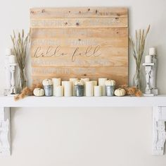 Neutral Fall Wheat Mantle Thanksgiving decor fall decor inspiration Fall Mantle Decor, Mantle Ideas, Wheat Decorations, Thanksgiving Decorations, Holiday Decorations, Fall Color Palette, Mantles, Fall Halloween, Boho Decor